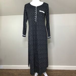 Eileen West Long Sleeved Nightgown Lace Trim Sz S